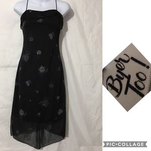 BYER TOO BLACK SPAGHETTI STRAP DRESS